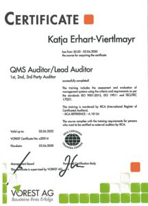 Ing. Katja Erhart-Viertlmayr Lead Auditor